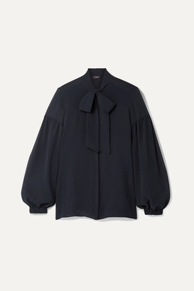 Akris Pussy-bow Mulberry Silk-crepe Blouse - Navy