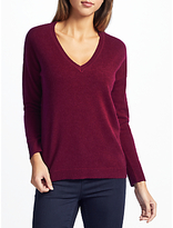 John Lewis Cashmere Dropped Sleeve V-Neck Jumper