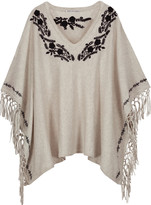 Autumn Cashmere Fringed embroidered cotton poncho