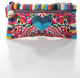 Joelle Gagnard Pink White Canvas Embroidered Blue Sequin Heart Pom Pom Clutch New $280