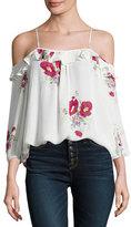 Joie Birtha Floral-Print Cold-Shoulder Top, White
