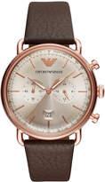 Emporio Armani Men's Chronograph Brown Leather Strap Watch 43mm