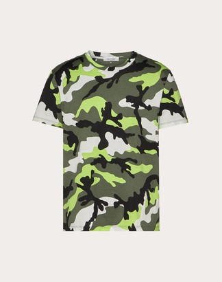 Valentino Camouflage T-shirt Man Neon Green Camouflage Cotton 100% M