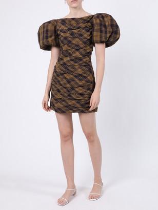 KHAITE Shelly Brown Check Print Dress