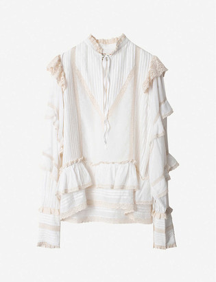 Zadig & Voltaire Trinity ruffled-trim cotton-blend blouse