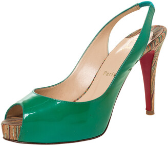 Christian Louboutin Green Patent Leather Private Number Peep Toe Slingback Sandals Size 38