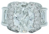 Charles Krypell Platinum Oval and Square Diamond Engagement Ring Size 6.25