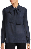 MICHAEL Michael Kors Long Sleeve Chambray Tie-Neck Blouse