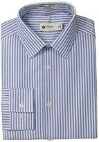 Haggar Men's Multi Stripe Point Collar Regular Fit Long Sleeve Dress Shirt