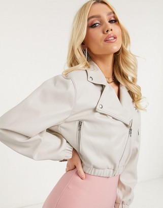 Blank NYC faux leather cropped jacket in beige