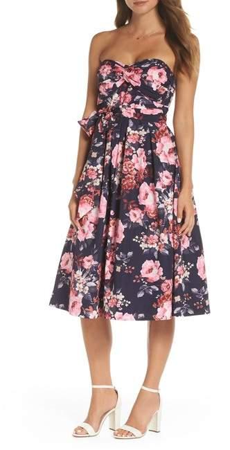 Floral Strapless Midi Dress (Regular- Petite & Plus Size)