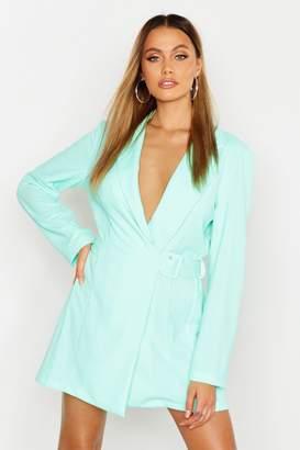 boohoo Side Buckle Blazer Dress