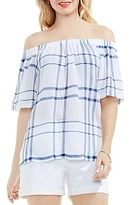 Vince Camuto Plaid Off-the-Shoulder Top