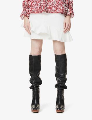 See by Chloe Frilled-trim stretch-denim mini skirt