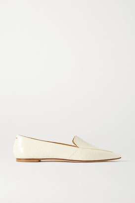 AEYDĒ Aurora Croc-effect Leather Loafers - Cream