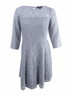 SL Fashions Women's Plus Size Sequin Lace Fit and Flare Dress