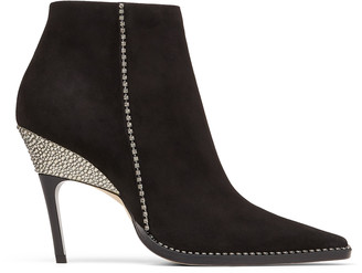 Jimmy Choo BRECKEN 100 Black Suede Ankle Boots with Crystal Embellishment