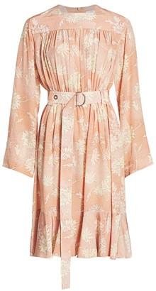 Chloé Floral Silk Belted Midi Dress