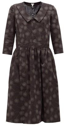 Comme des Garçons Comme des Garçons Floral-print Cotton-crepe Dress - Black
