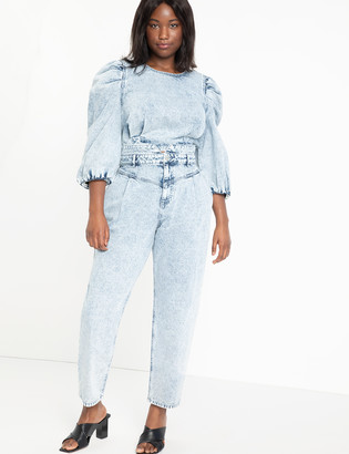 ELOQUII High Waisted Acid Wash Jean