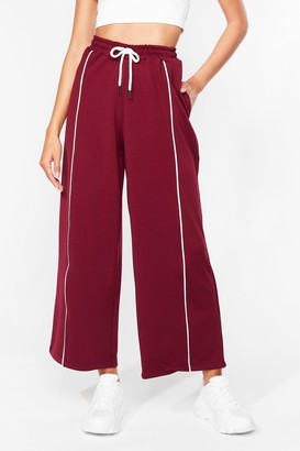 Nasty Gal Womens Do It Stripe Relaxed High-Waisted Joggers - Red - S, Red