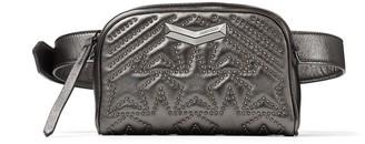 Jimmy Choo HELIA CAMERA BAG Dark Anthracite Matelasse Nappa Leather with Metallic Star-Studded Camera Bag