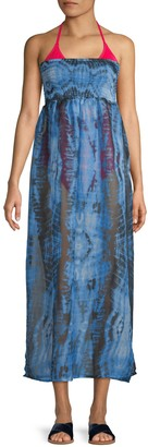Rachel Roy Smocked Tie-Dye Strapless Cover-Up