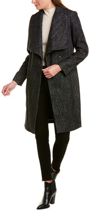 Cole Haan Herringbone Wool-Blend Wrap Coat
