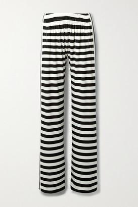 Norma Kamali Striped Stretch-jersey Wide-leg Pants - White