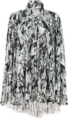 Balenciaga Pleated Magazine Print Dress