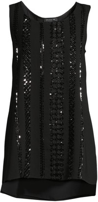 Lafayette 148 New York Ruthie Embellished Crepe Tank Top
