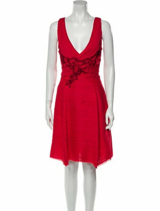 Marchesa Notte V-Neck Knee-Length Dress w/ Tags Red