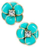 Kate Spade 14k Gold-Plated Crystal Enamel Flower Stud Earrings