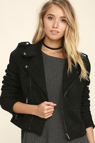 LuLu*s Kiss Goodbye Black Suede Moto Jacket