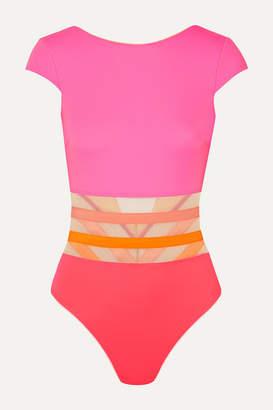 Agent Provocateur Zenaya Mesh-trimmed Swimsuit - Pink