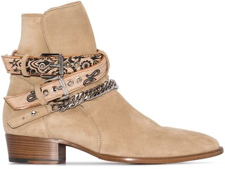 Amiri Bandana Buckle-Strap Suede Boots