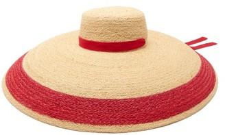 Lola Hats Saturn Striped-raffia Hat - Red Multi