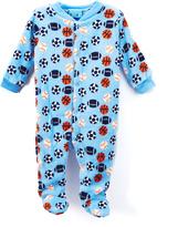 Sweet & Soft Blue Sports Ball Fleece Footie - Infant