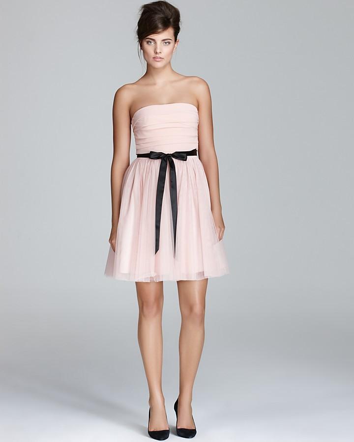 Aqua Strapless Dress - Contrast Waist Tie
