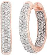 Tiara 1 CT TW Diamond 10K Rose Gold 3-Row Encrusted Huggie Earrings