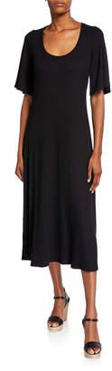 Rachel Pally Felice Scoop-Neck Short-Sleeve Ribbed Midi Dress