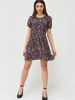 Very Balloon Sleeve Smock Dress - Floral