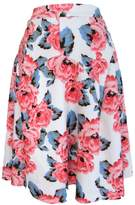 INC Womens Plus Floral Print Scuba A-Line Skirt Pink