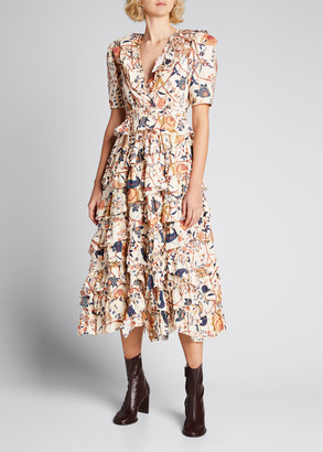 Ulla Johnson Aurora Floral Tiered Ruffle Dress