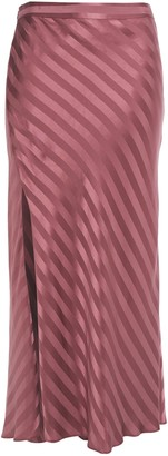 Mason by Michelle Mason Striped Silk-satin Jacquard Midi Skirt