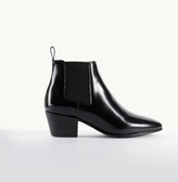 Maje Glacé leather flat ankle boots