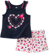 Kids Headquarters 2-Pc. Hearts Tank & Shorts Set, Baby Girls (0-24 months)