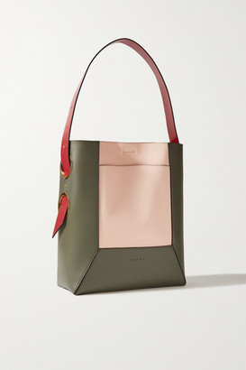 Marni Color-block Leather Tote - Army green