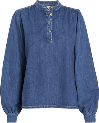 Ganni Denim Puff Sleeve Blouse