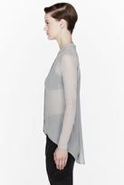 Helmut Lang HELMUT Grey Ghost Silk contrasting sleeve shirt